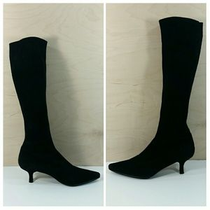 Stuart Weitzman Knee High Black Soft Suede Boots